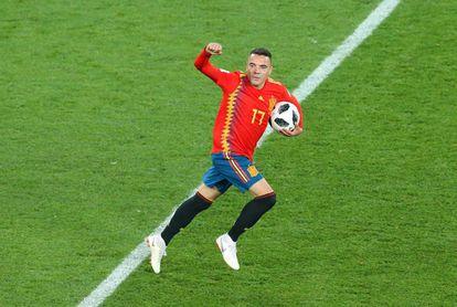 Iago Aspas celebra el gol del empate contra Marruecos.