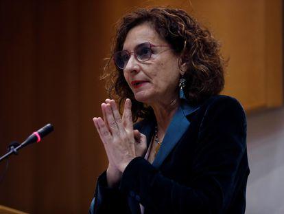 María Jesús Montero, durante su intervención en el Comité de Personas Expertas para la Reforma Fiscal celebrado en Madrid, este lunes.