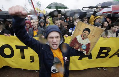 Protestas en San Petersburgo por el bloqueo a Telegram en medio de las manifestaciones por el Día del Trabajo, el pasado 1 de mayo.