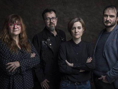 Desde la izquierda, los directores Isabel Coixet, Paco Plaza, Carla Simón y Aitor Arregi, candidatos a los Goya, la pasada semana en la redacción de EL PAÍS.