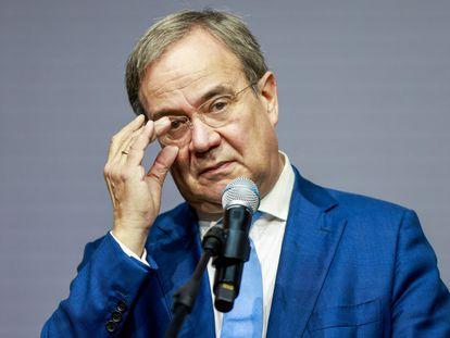 El líder de la CDU, Armin Laschet, durante una comparecencia ante la prensa, el 5 de octubre en Berlín.