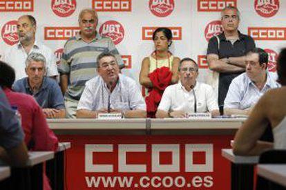 Comparecencia de los sindicatos en la que convocaron las movilizaciones contra la reforma.