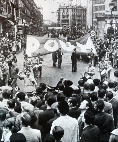 Manifestación del POUM y otros republicanos en Barcelona, 1936.