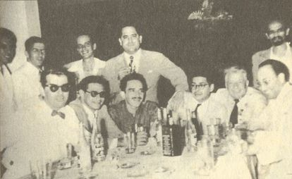 'Grupo de Barranquilla'. De izquierda a derecha, de pie: Alfredo Delgado, Carlos de la Espriella,Germán Vargas, Fernando Cepeda, Orlando Rivera (Figurita).