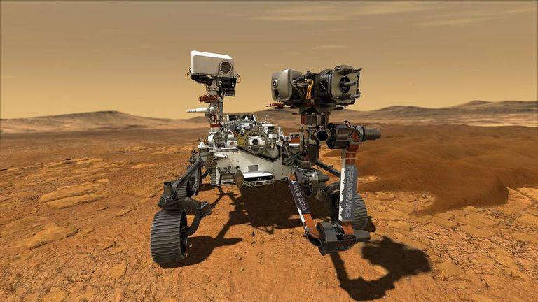 Ilustración del 'Perseverance' en la superficie de Marte.