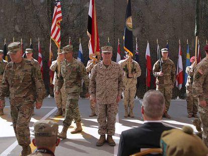 Ceremonia militar de las tropas estadounidenses en una base en Bagdad el pasado septiembre.
