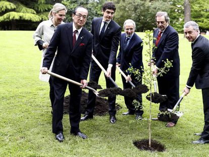 El lehendakari, Iñigo Urkullu junto al alcalde de Hiroshima, Kazumi Matsui, y otras autoridades plantando un retoño del 'Ginka Biloba', el árbol que sobrevivió a la bomba atómica en esta ciudad japonesa