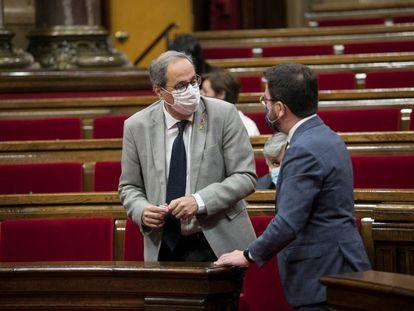 Quim Torra y Pere Aragonés, la semana pasada en el Parlament.