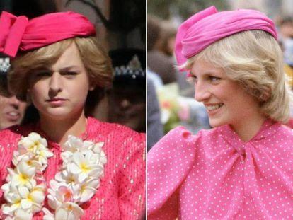 Emma Corrin como Diana de Gales y, a la izquierda, la princesa con un traje muy similar en Perth (Australia) en 1983.