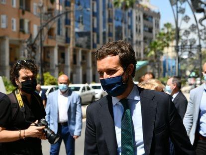 El presidente del PP, Pablo Casado, este jueves en Ceuta (España).