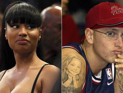 Nicki Minaj en un partido de la NBA en 2015 y Eminem, en imágenes de 2015.