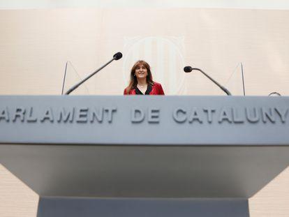 La presidenta del Parlament, Laura Borràs, durante el segundo debate de investidura.