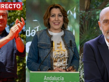Los tres candidatos en primarias para concurrir por el PSOE a la presidencia de la Junta de Andalucía: Juan Espadas, Susana Díaz y Luis Ángel Hierro.