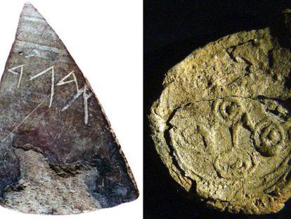 A la izquierda, una pieza hallada por Diego Ruiz Mata en el yacimiento de doña Blanca, en Cádiz, de los siglos VIII-VII antes de Cristo, con las primeras cuatro letras del alfabeto fenicio. A la derecha, una de las bulas fenicias del siglo VIII antes de Cristo halladas en el Teatro Cómico de Cádiz.