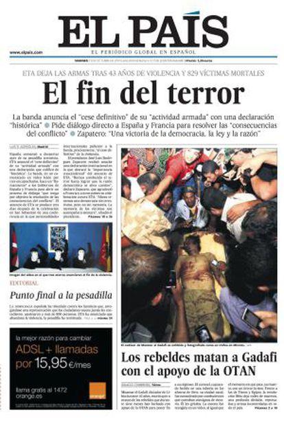 Portada de EL PAÍS el 21 de octubre de 2011.