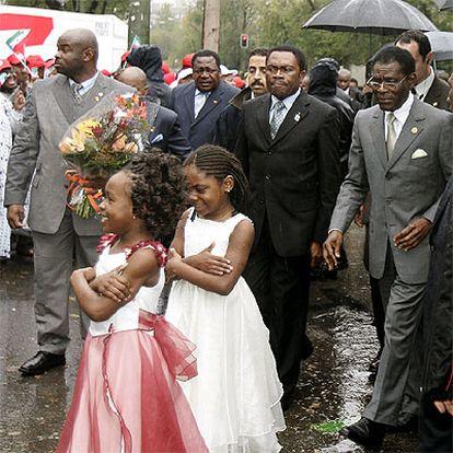 Teorodo Obiang, antes de inaugurar la nueva sede de la embajada de Guinea Ecuatorial en España.