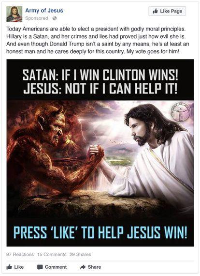 Imagen difundida por la cuenta Armada de Jesús creada por el operativo ruso para interferir en las elecciones.