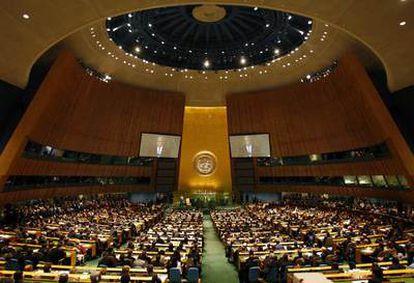 Vista panoramica de la 62 Asamblea General de la ONU, durante la intervención del presidente de EE UU, Geoge W. Bush, en 25 de septiembre de 2007.