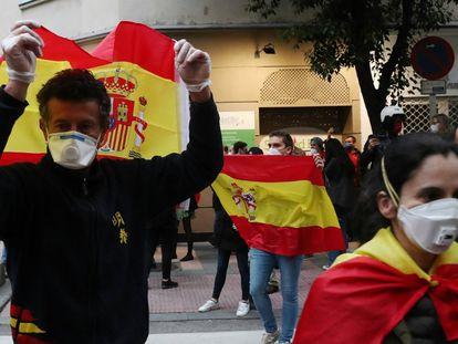 Protesta el jueves pasado en Núñez de Balboa contra el Gobierno de España / JAIME VILLANUEVA