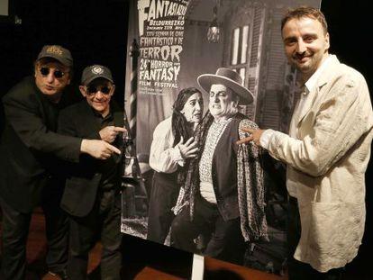 Gurruchaga, Popotxo y Beltrán, durante la presentación del cartel de la Semana de Cine Fantástico y de Terror.