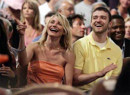 Cameron Díaz y Justin Timberlake asisten como espectadores a un 'reality show' en Las Vegas en mayo de 2005