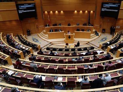 María Jesús Montero, durante su intervención en el pleno de debate de la totalidad del proyecto de Ley de los Presupuestos Generales en el Senado, este lunes.