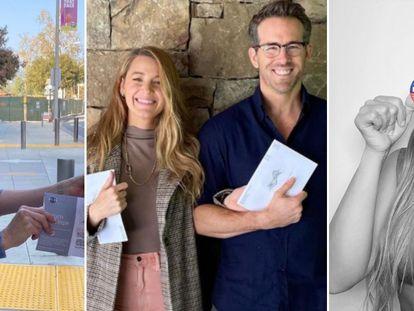 Jennifer Aniston, Blake Lively con Ryan Gosling y Kim Kardashian muestran su voto en las elecciones de EE UU de 2020.