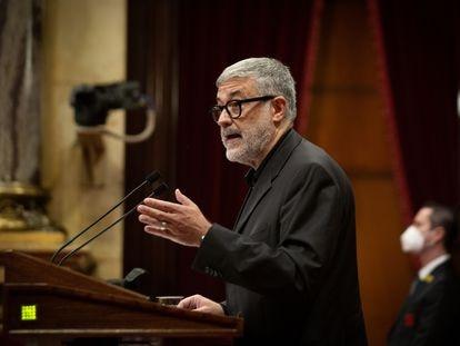 El diputado de la CUP Carles Riera, durante el debate de política general en el Parlament, este miércoles.