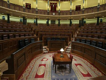 El hemiciclo del Congreso, vacío tras el último pleno.