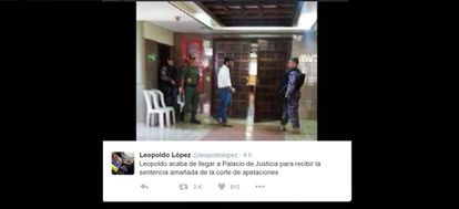 La cuenta de Twitter de López publicó una imagen suya este jueves