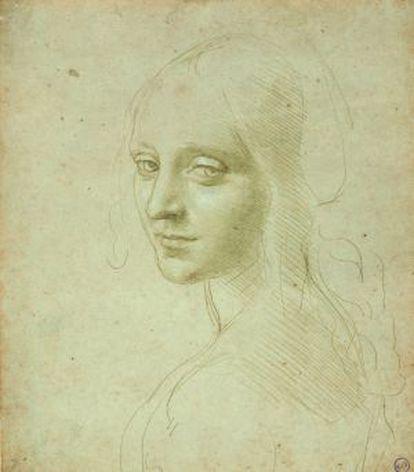 Estudio de Da Vinci para el ángel de 'La Virgen de las rocas'.