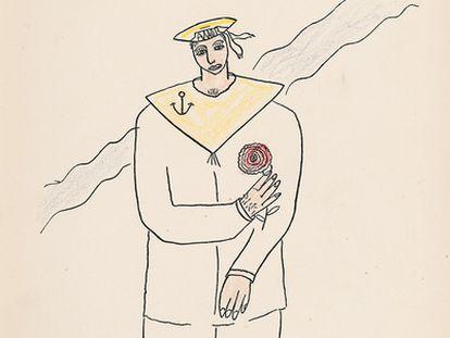 Portada del número 3 de la revista 'Litoral' de marzo de 1927, ilustración de Federico García Lorca.