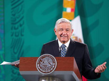 Andrés Manuel Lopez Obrador, durante una rueda de prensa en Palacio Nacional