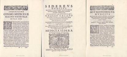 Páginas de la copia falsa del tratado astronómico 'Sidereus Nuncius', de Galileo.