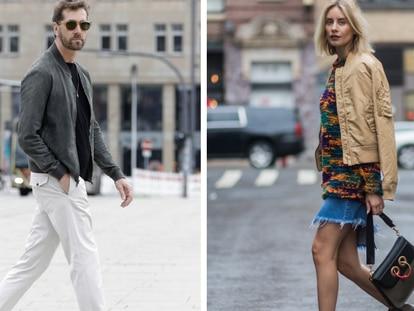 Dos ejemplos de 'looks' con chaquetas 'bomber' vistos en la calle. GETTY IMAGES.