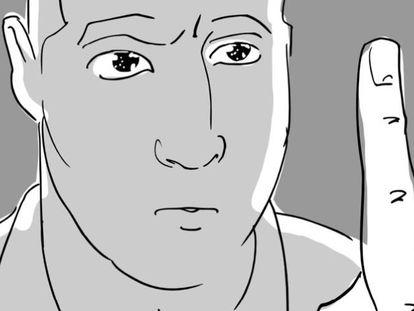 'Storyboard' de 'Abracadabra', dibujado por Iñigo Rotaetxe, con la secuencia en que José Mota hipnotiza a Antonio de la Torre.