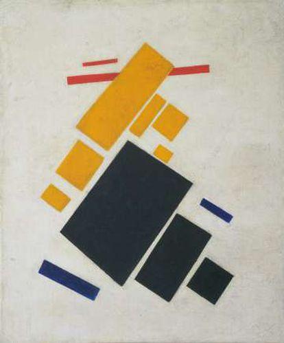 'Composición suprematista: avión volando' (1915), de Malévich.