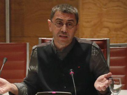 Juan Carlos Monedero comparece ante la Comisión de Investigación de la Financiación de los Partidos Políticos del Senado. Javier Lizon EFE
