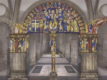 Recreación digital de los colores de la primera policromía (siglo XII) del Pórtico de la Gloria.