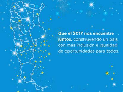 El mensaje de fin de año del Ministerio de Desarrollo Social, sin las islas Malvinas.