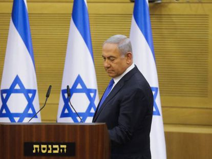 El primer ministro de Israel, Benjamin Netanyahu, el lunes en la Kneset (Parlamento).