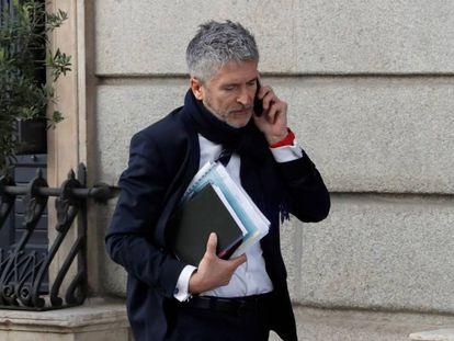 El ministro del Interior, Fernando Grande-Marlaska, a su llegada al Congreso.