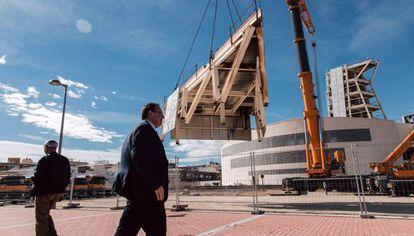 Desmontaje del centro cultural de La Paloma en Pilar de la Horadada.