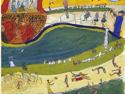 Una de las ilustraciones de la exposición 'Charlotte Salomon. Vida? o Teatro?', en el Monasterio de Pedralbes de Barcelona.