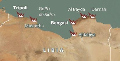 Mapa con las protestas en Libia