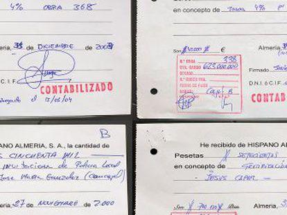 Los dos recibos de arriba señalan comisiones ilegales supuestamente cobradas por el arquitecto municipal Javier Macías. En los de abajo figuran pagos al exconcejal de Urbanismo y a un empleado de la constructora.