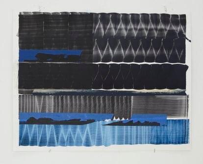 Una de las pinturas de la serie 'Notas para SQR' (2021), de Juan Uslé.  obra sobre papel  56 x 71 cm