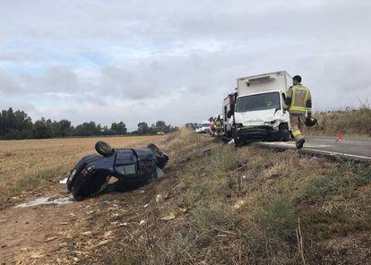 Imagen de un accidente mortal en Extremadura, en el que fallecieron tres personas el pasado octubre.