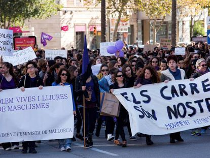 Manifestación en Palma hoy por la eliminación de la violencia machista.