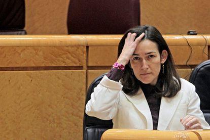 La exministra de Cultura Ángeles González-Sinde, en el Senado.